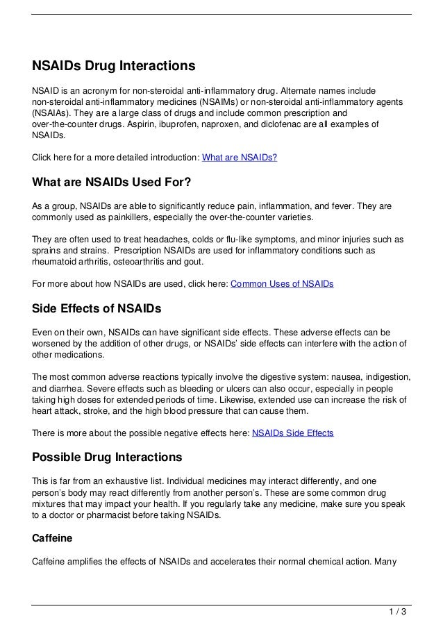Nsaids Drug Interactions