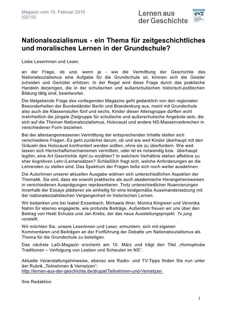 Magazin vom 10. Februar 2010 (02/10)     Nationalsozialismus - ein Thema für zeitgeschichtliches und moralisches Lernen in...
