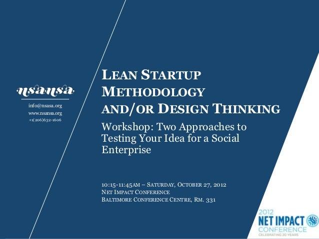 Nsansa Lean Startup vs Design Thinking Workshop Slides