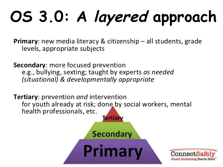 OS 3.0: A  layered  approach <ul><li>Primary : new media literacy & citizenship – all students, grade levels, appropriate ...