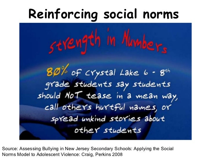 Reinforcing social norms Source: Assessing Bullying in New Jersey Secondary Schools: Applying the Social Norms Model to Ad...