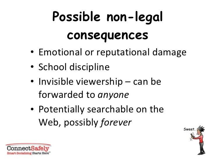Possible non-legal consequences <ul><li>Emotional or reputational damage </li></ul><ul><li>School discipline </li></ul><ul...