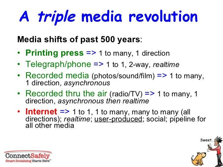 A  triple  media revolution  <ul><li>Media shifts of past 500 years : </li></ul><ul><li>Printing press  =>  1 to many, 1 d...