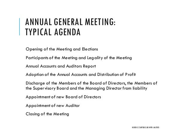 Board and shareholder meetings how to do them right nordic founders annual general meeting typical agenda pronofoot35fo Images