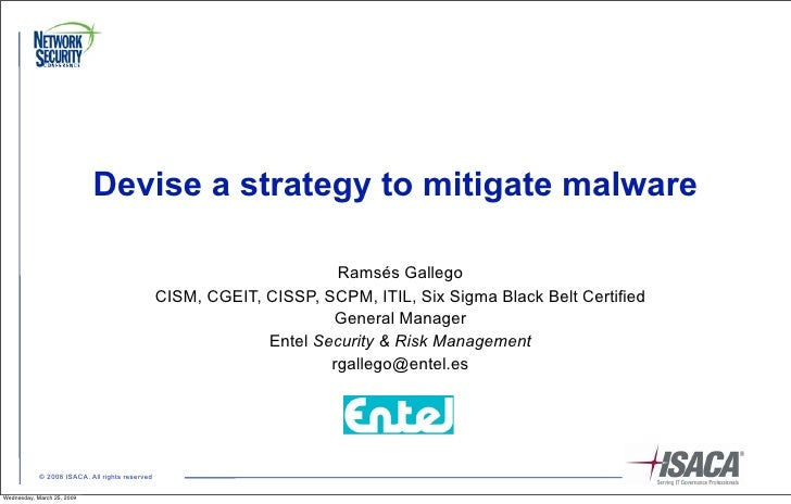 Devise a strategy to mitigate malware                                                                        Ramsés Galleg...