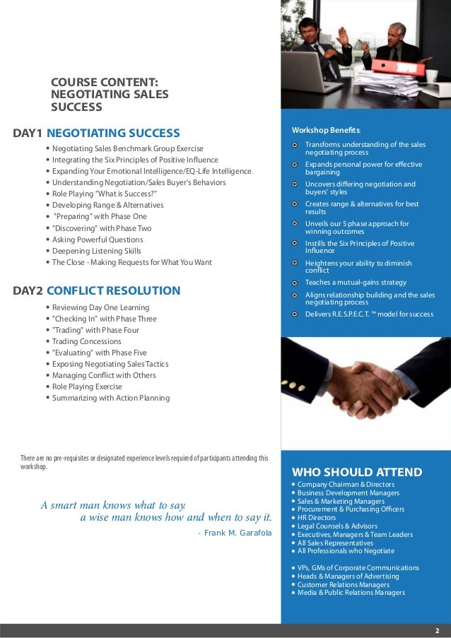 Negotiating Sales Success & Customer Loyalty 10-13 October 2016 Kuala Lumpur, Malaysia / 16-19 October 2016 Dubai, UAE Slide 2
