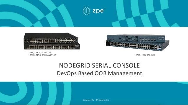 Company Info – ZPE Systems, Inc. T48S, T32S and T16S T96, T48, T32 and T16 T96R, T48R, T32R and T16R NODEGRID SERIAL CONSO...