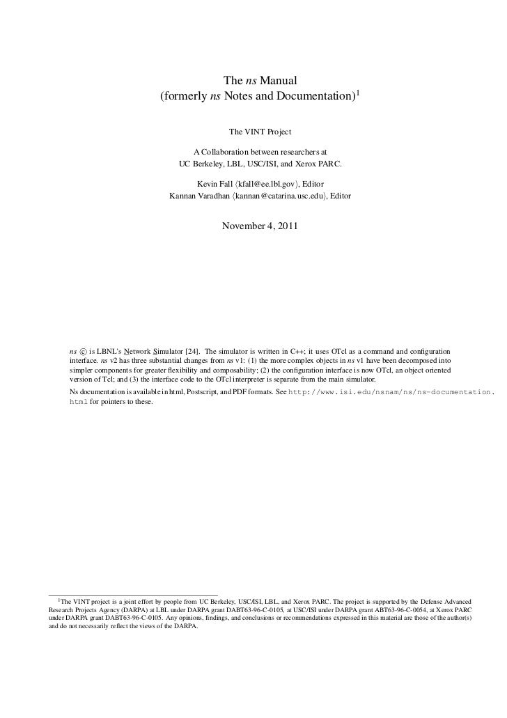 The ns Manual                                      (formerly ns Notes and Documentation)1                                 ...