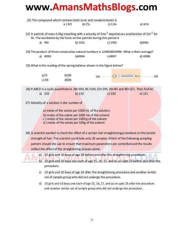 www.AmansMathsBlogs.com 22) The compound which contains both ionic and covalent bonds is a ) KCl b) CS2 c) C2H6 d) KCN 23)...