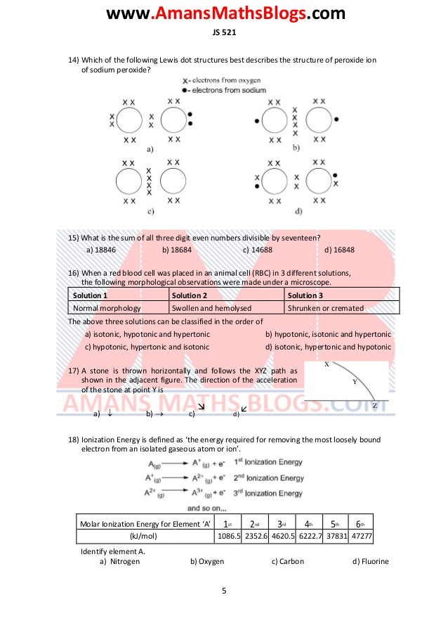 www.AmansMathsBlogs.com JS 521 14) Which of the following Lewis dot structures best describes the structure of peroxide io...