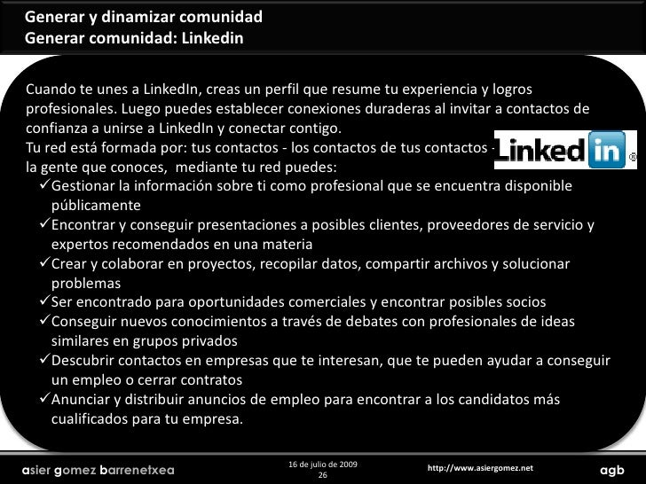 Generar y dinamizar comunidad<br />Generar comunidad: Facebook<br />Tu red está formada por: tus contactos - los contactos...