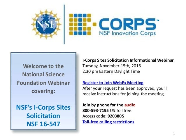 Nsf i corps sites webinar slides without narration