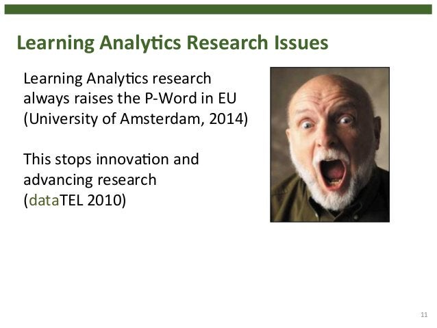 Learning  AnalyHcs  Research  Issues  11  Learning  Analy4cs  research  always  raises  the  P-‐Word  in  EU  (University...