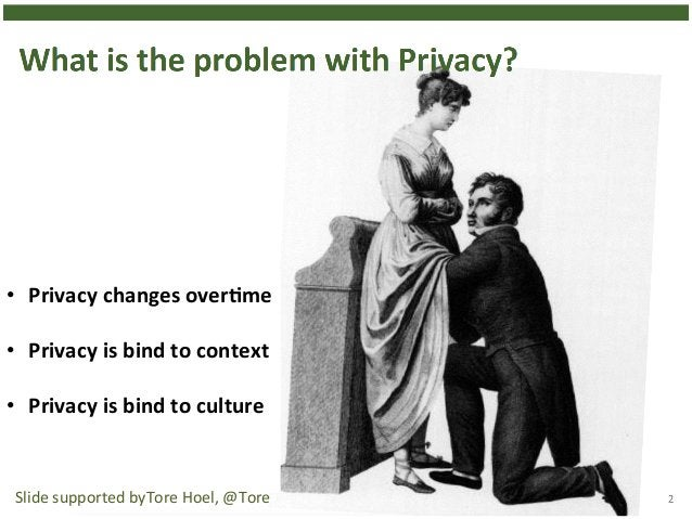 12  • Privacy  changes  overHme  • Privacy  is  bind  to  context  • Privacy  is  bind  to  culture  Slide  supported  byT...