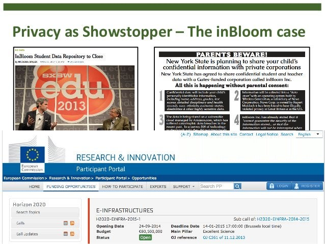 Privacy  as  Showstopper  –  The  inBloom  case  • $100  million  investment  • Aim:  Personalized  learning  in  public  ...