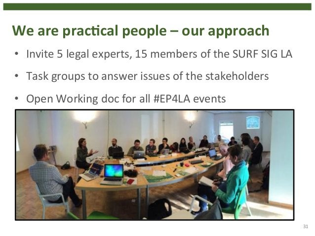 We  are  pracHcal  people  –  our  approach  31  • Invite  5  legal  experts,  15  members  of  the  SURF  SIG  LA  • Task...