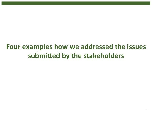 32  Four  examples  how  we  addressed  the  issues  submiged  by  the  stakeholders