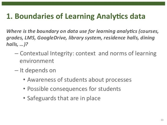1.  Boundaries  of  Learning  AnalyHcs  data  Where  is  the  boundary  on  data  use  for  learning  analy3cs  (courses, ...