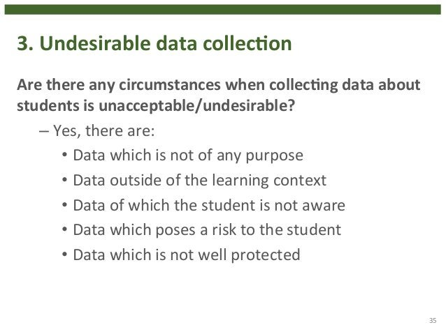 3.  Undesirable  data  collecHon  Are  there  any  circumstances  when  collecHng  data  about  students  is  unacceptable...