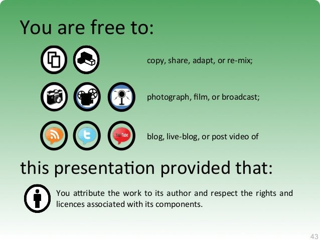 43  43  You  are  free  to:  copy,  share,  adapt,  or  re-‐mix;  photograph,  film,  or  broadcast;  blog,  live-‐blog,...