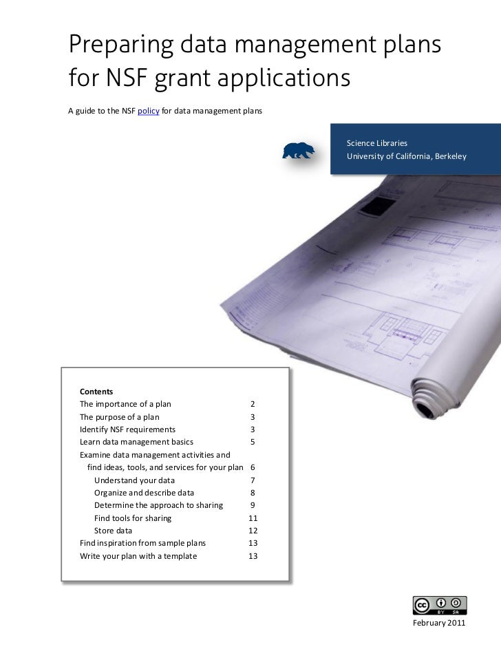 Preparing data management plansfor NSF grant applicationsA guide to the NSF policy for data management plans              ...
