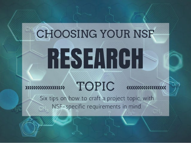 Choosing Your NSF research Topic