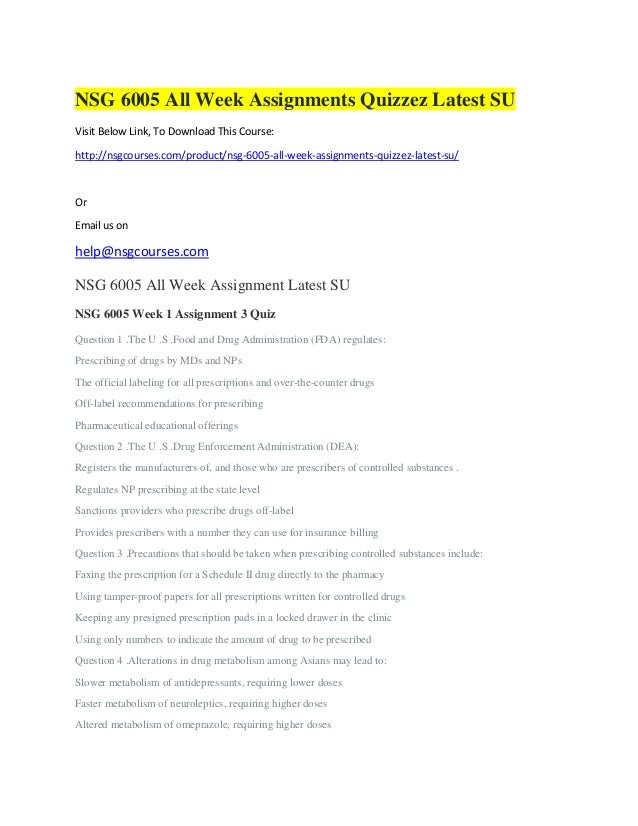 Nsg 6005 all week assignments quizzez latest su nsg courses south u…