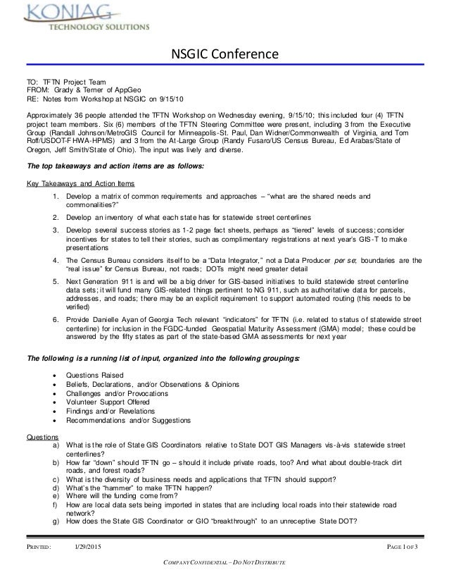 NSGIC Conference PRINTED: 1/29/2015 PAGE 1 OF 3 COMPANY CONFIDENTIAL – DO NOT DISTRIBUTE TO: TFTN Project Team FROM: Grady...