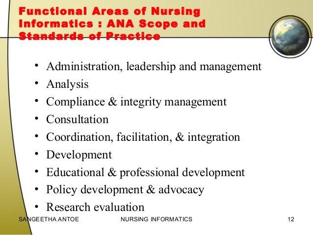 ana functional areas of nursing informatics