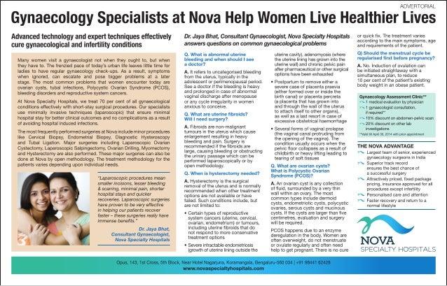 Nova Specialty Hospitals Gyanecology Advertorial