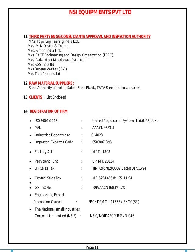 NSI EQUIPMENTS PVT LTD Page 11 11. THIRD PARTY ENGG CONSULTANTS APPROVAL AND INSPECTION AUTHORITY M/s. Toyo Engineering In...