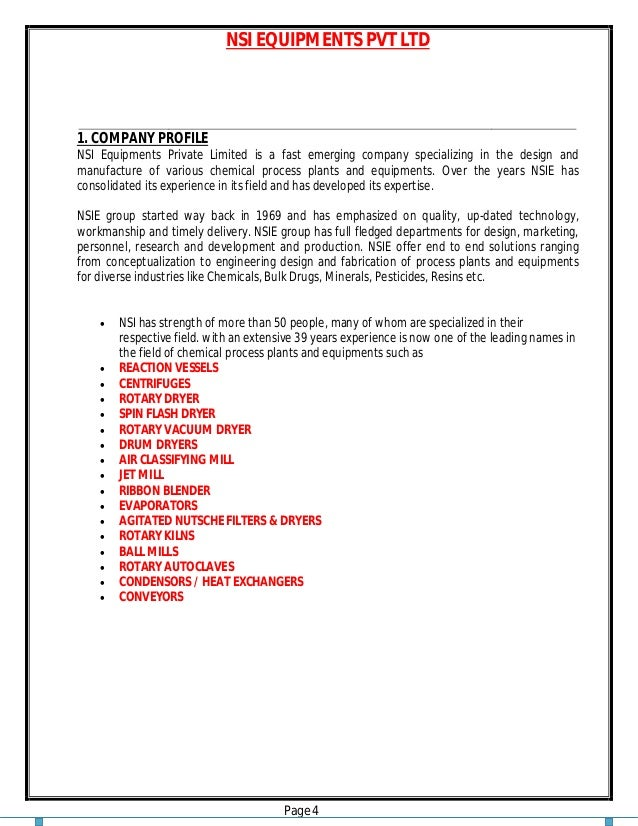 NSI EQUIPMENTS PVT LTD Page 4 1. COMPANY PROFILE NSI Equipments Private Limited is a fast emerging company specializing in...