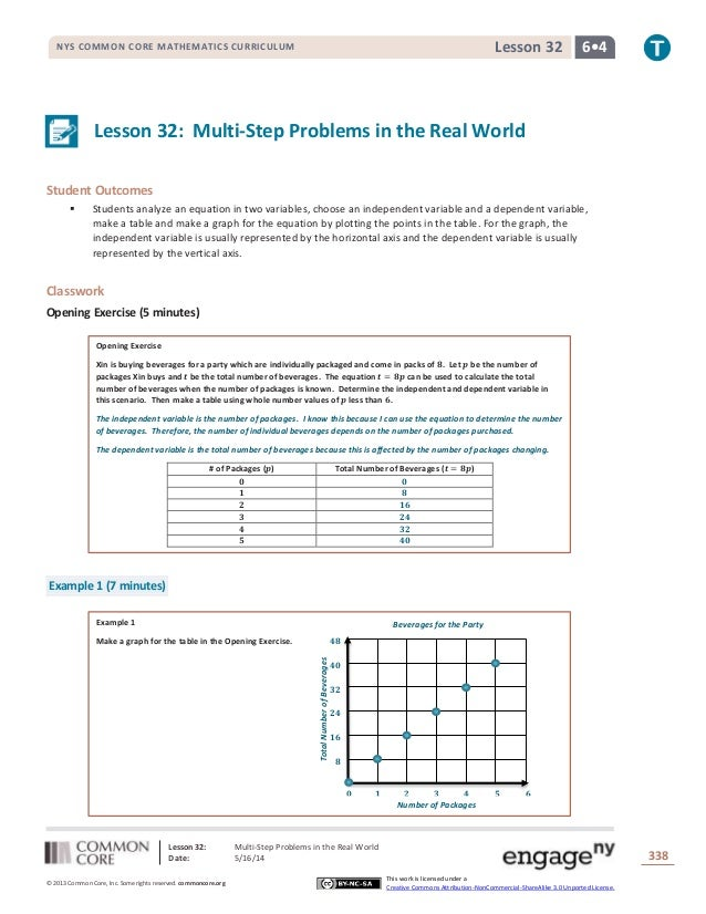 Lesson 32: Multi-Step Problems in the Real World Date: 5/16/14 338 © 2013 Common Core, Inc. Some rights reserved. commonco...