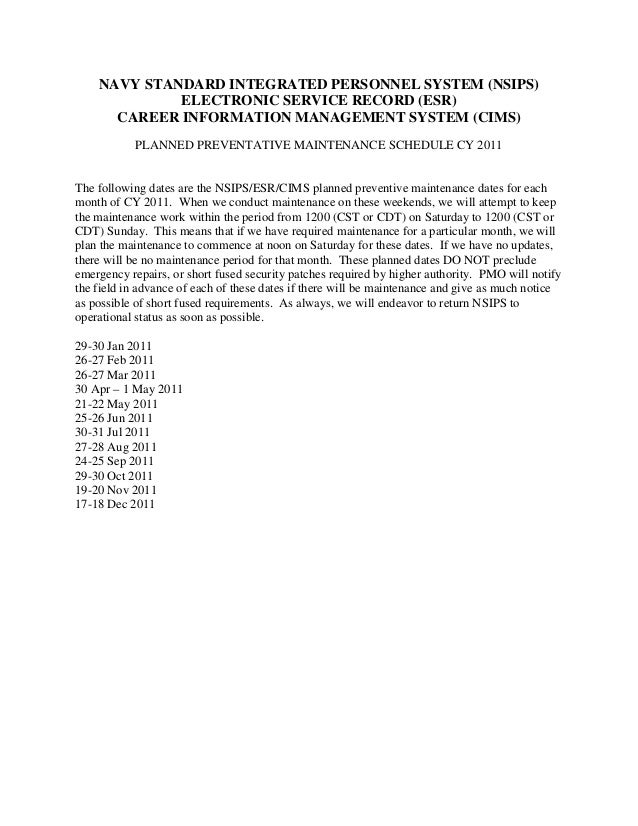 NAVY STANDARD INTEGRATED PERSONNEL SYSTEM (NSIPS) ELECTRONIC SERVICE RECORD (ESR) CAREER INFORMATION MANAGEMENT SYSTEM (CI...