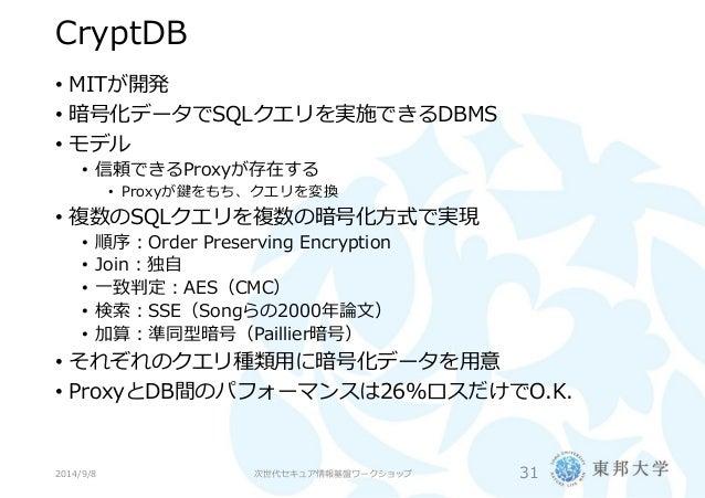 検索可能暗号の概観と今後の展望(第2回次世代セキュア情報基盤ワークショップ)