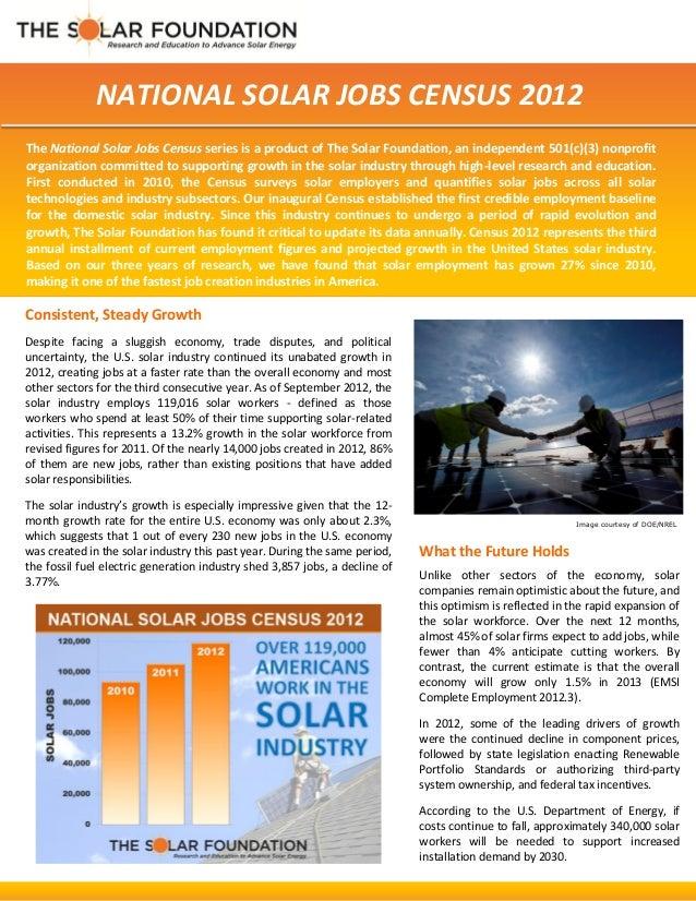 National Solar Jobs Census 2012 Fact Sheet