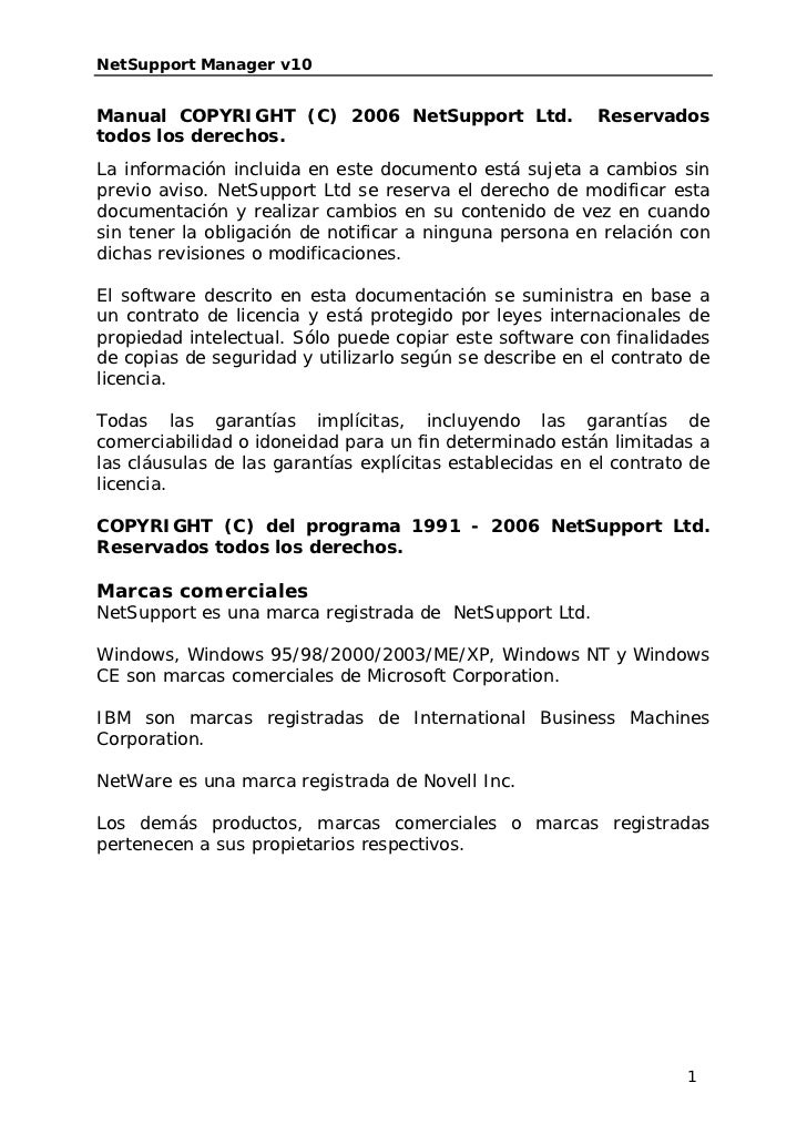 NetSupport Manager v10Manual COPYRIGHT (C) 2006 NetSupport Ltd.                 Reservadostodos los derechos.La informació...