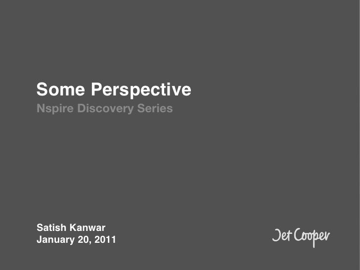 Some Perspective!Nspire Discovery Series!!Satish Kanwar!January 20, 2011!