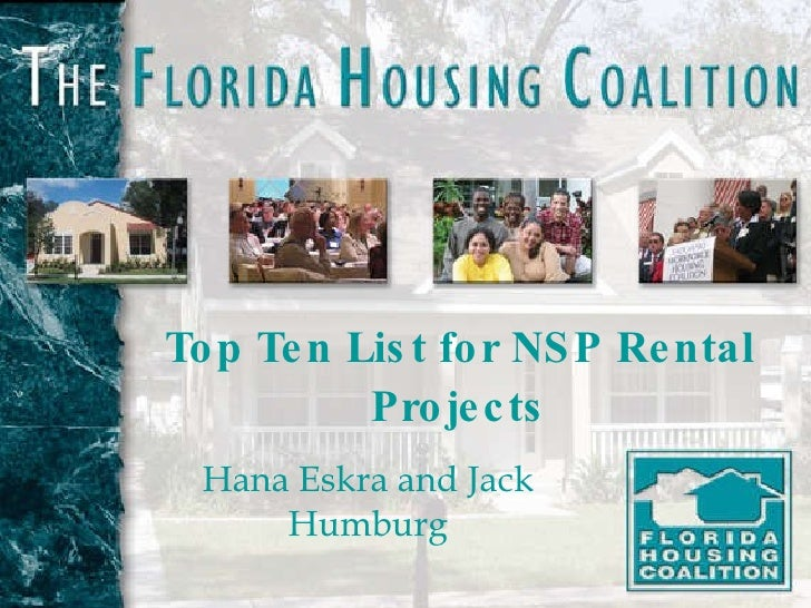 Top Ten List for NSP Rental Projects Hana Eskra and Jack Humburg