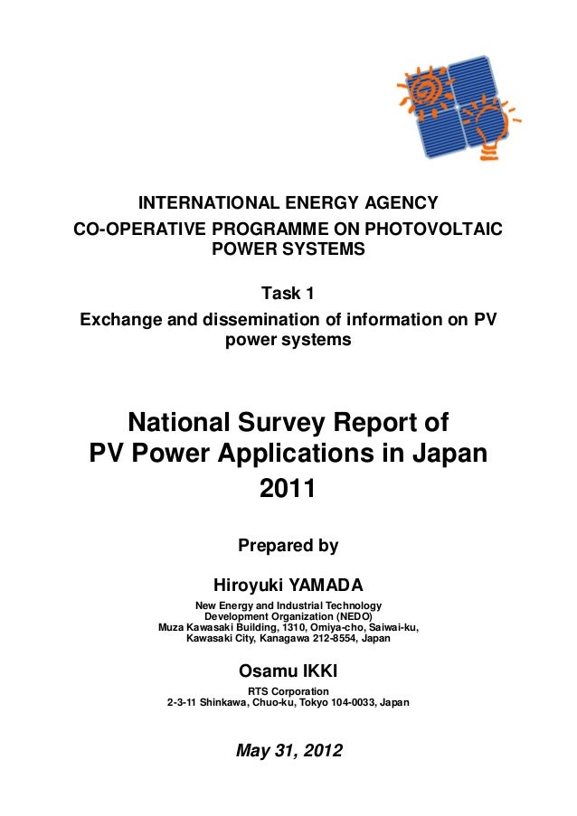 INTERNATIONAL ENERGY AGENCY CO-OPERATIVE PROGRAMME ON PHOTOVOLTAIC POWER SYSTEMS Task 1 Exchange and dissemination of info...
