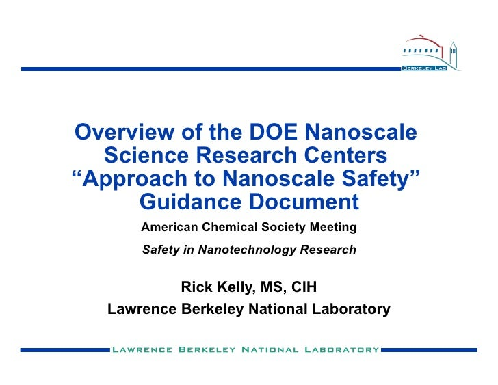 """Overview of the DOE Nanoscale   Science Research Centers """"Approach to Nanoscale Safety""""      Guidance Document        Amer..."""