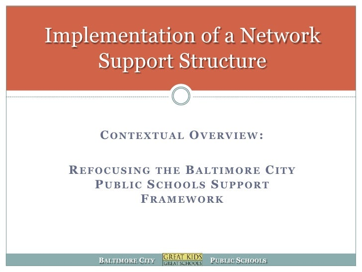 Implementation of a Network      Support Structure         CONTEXTUAL OVERVIEW:    REFOCUSING THE BALTIMORE CITY      PUBL...
