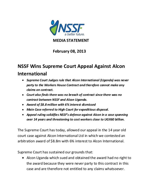 MEDIA STATEMENT                       February 08, 2013NSSF Wins Supreme Court Appeal Against AlconInternational     Supre...
