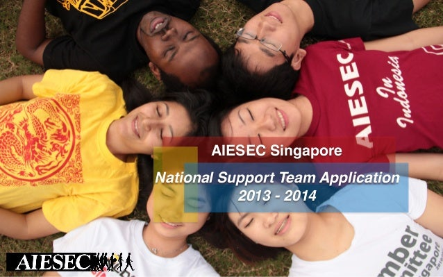 AIESEC Singapore ! ! National Support Team Application ! 2013 - 2014!