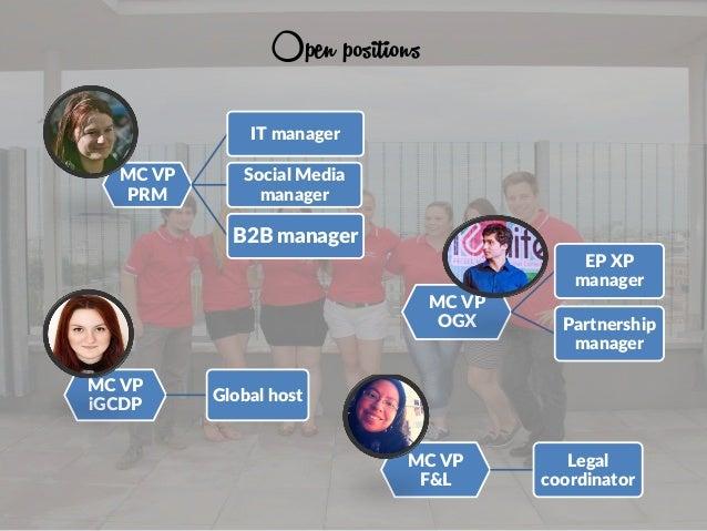 Open positions MC VP PRM IT manager Social Media manager B2B manager MC VP OGX EP XP manager Partnership manager MC VP F&L...