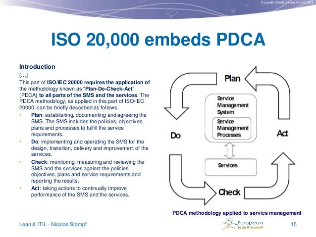 Copyright © Institut Lean France 2012  ISO 20,000 embeds PDCA Introduction […] This part of ISO/IEC 20000 requires the app...