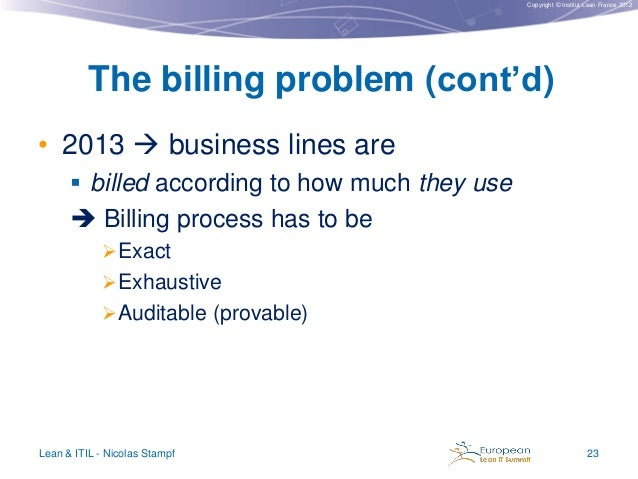 Copyright © Institut Lean France 2012  The billing problem (cont'd) • 2013  business lines are  billed according to how ...
