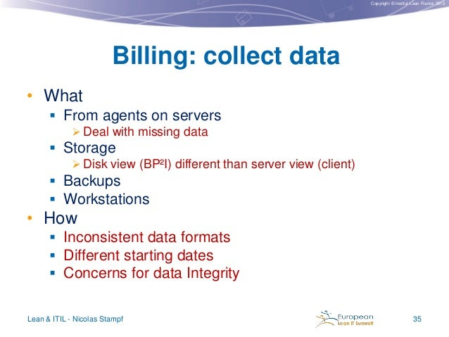 Copyright © Institut Lean France 2012  Billing: collect data • What  From agents on servers  Deal with missing data   S...