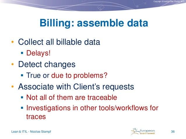 Copyright © Institut Lean France 2012  Billing: assemble data • Collect all billable data  Delays!  • Detect changes  Tr...