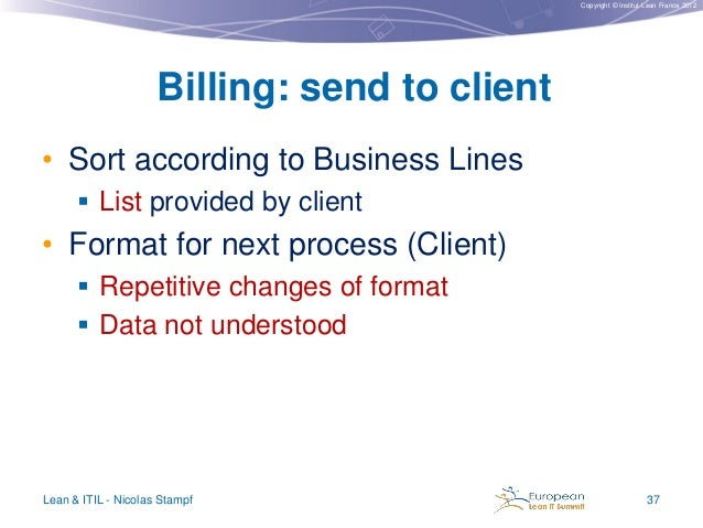 Copyright © Institut Lean France 2012  Billing: send to client • Sort according to Business Lines  List provided by clien...